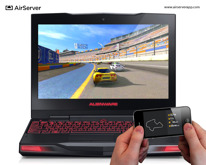 AirServer: Real Racing 2 HD on PC via iPhone